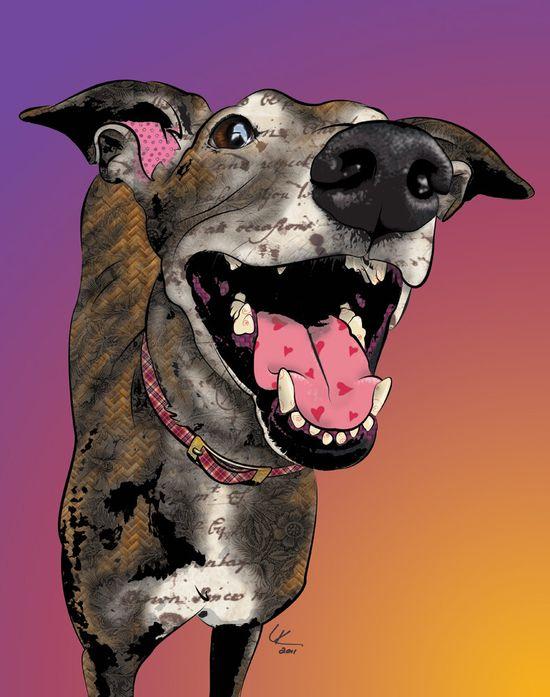 Smiley Nellie, Greyhound Pop Art Print, Whippet Art, Dog Portrait, via Etsy.