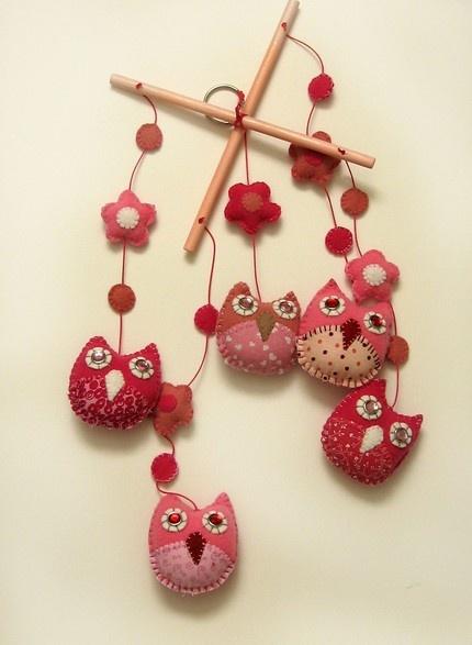 Pink felt owl mobile