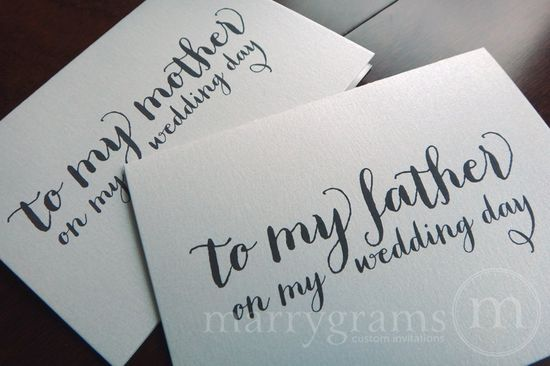 Wedding Card to Your Mother or Father -- Parents of the Bride or Groom Cards. $6.50, via Etsy.