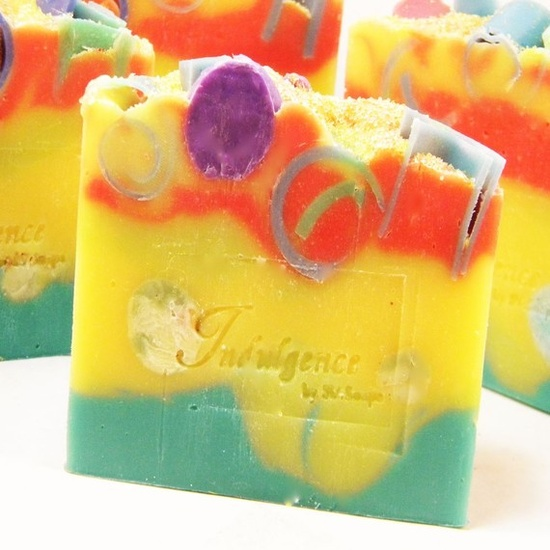 Jasmine, grapefruit, green apple & melon from svsoaps on Etsy...beautiful colors!