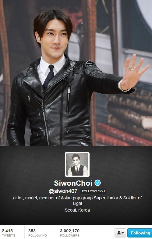 Super Junior's Siwon becomes the first Korean celebrity to surpass 3 million followers on Twitter