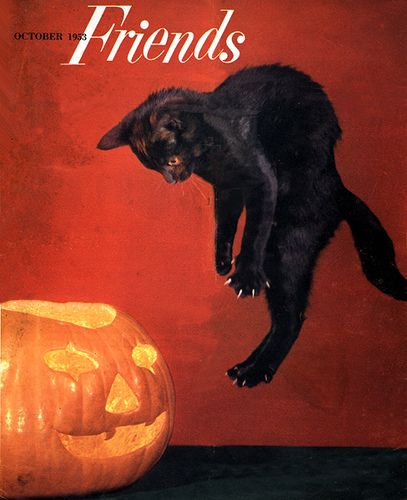 Jumping Black Cat--Vintage Halloween Magazine Cover