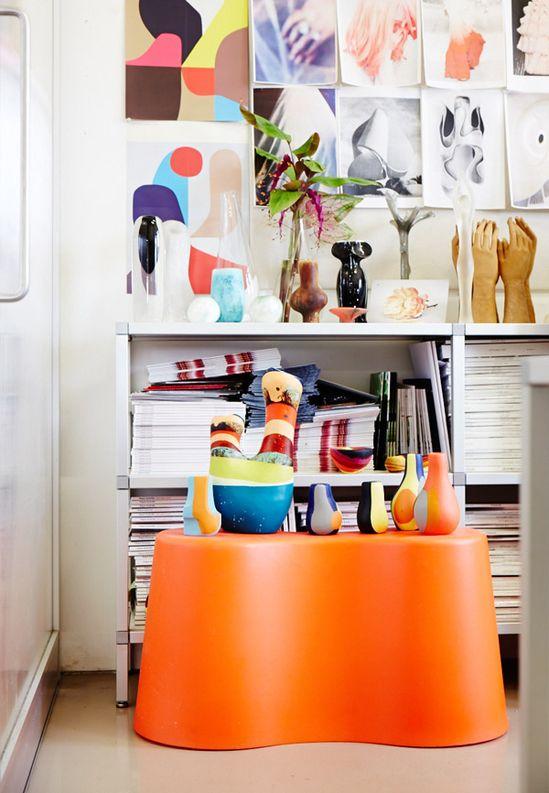 vases + art + orange accent #styling #decor
