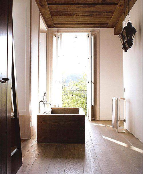 wood home, wood bathroom, salle de bains bois, maison bois