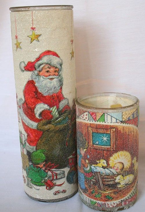 Glittery Frosted Glass Candles...70's