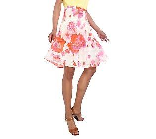 Isaac Mizrahi floral print a line skirt