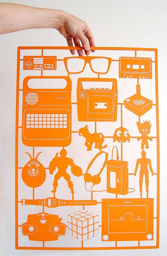 retro orange paper cut