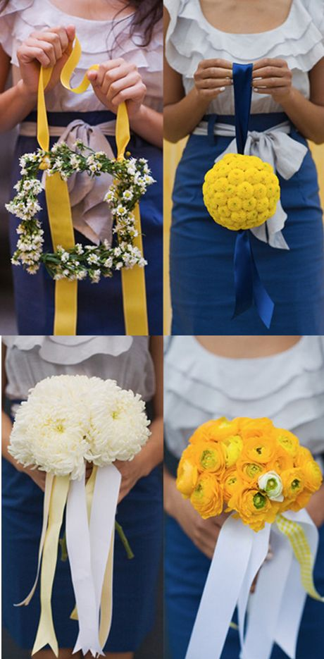 Navy and yellow flower arrangements
