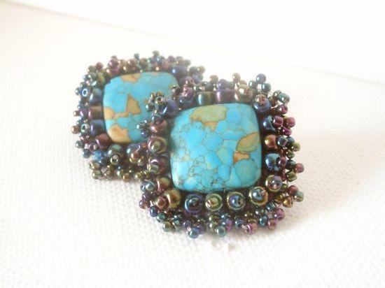 blue clip on earrings  handmade jewelry  by beadsofaquarius,