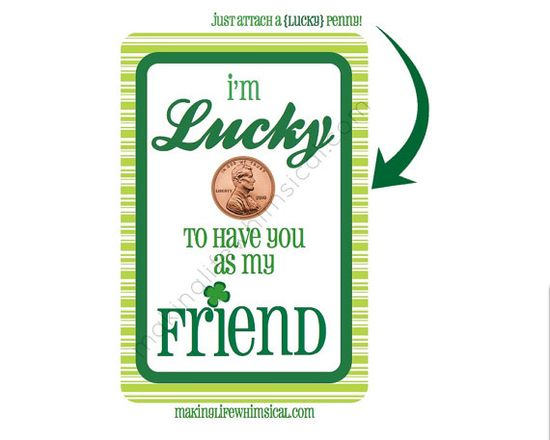 LUCKY PENNY St Patricks Day Printable Card by MakingLifeWhimsical, $3.00