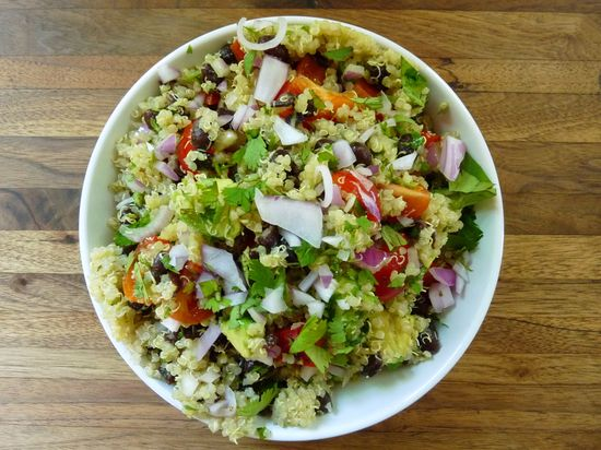 quinoa salad with black beans/cumin-lime dressing