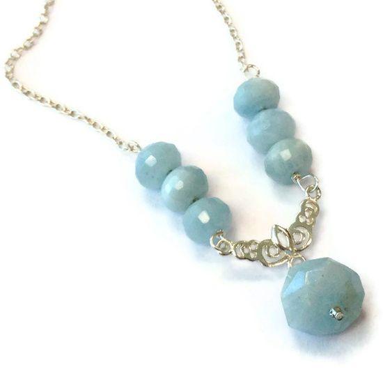 Aquamarine Necklace Sterling Silver Jewelry by jewelrybycarmal, $50.00