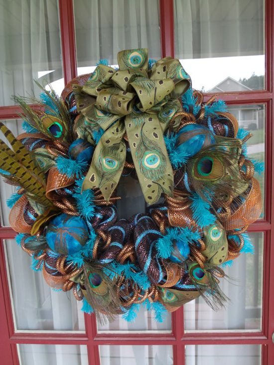 Turquoise and Chocolate Peacock Deco Mesh Door by CrazyboutDeco, $79.00