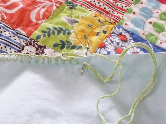 how to start a crochet edge on fabric with a Blanket stitch.