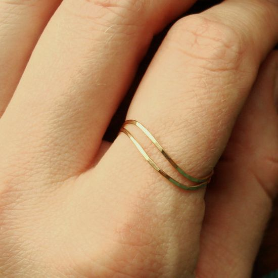 HURRICANE BACKORDER -Set of Two Golden Threads - Pink or Yellow Gold Filled - Tiny Hammered Stacking Rings - Delicate Jewelry