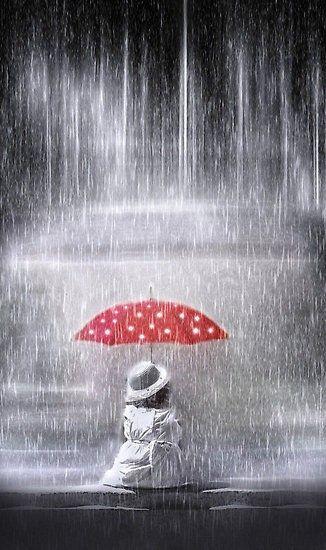 Red umbrella in the rain..