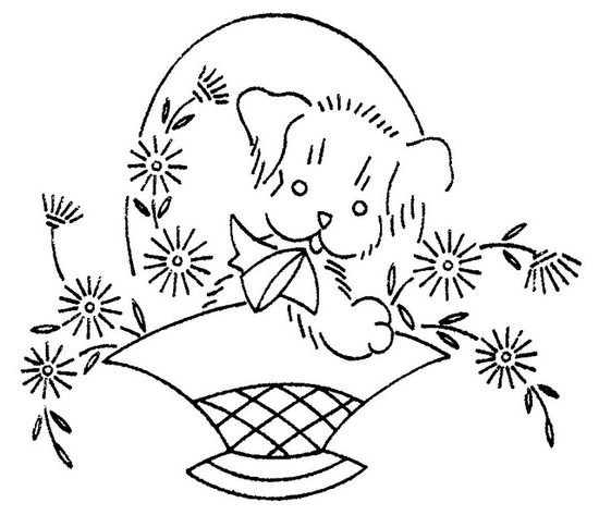 puppy in flower basket embroidery pattern
