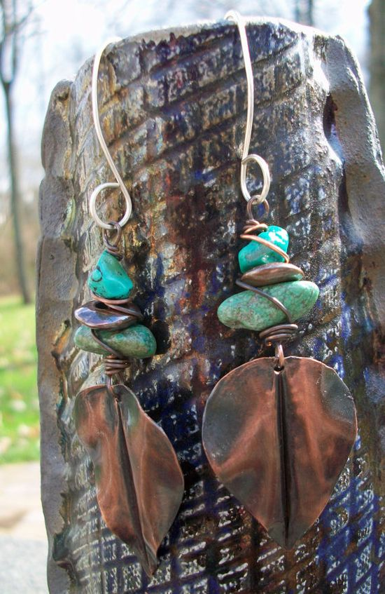 Copper and turquoise earrings.  Funky and lovely