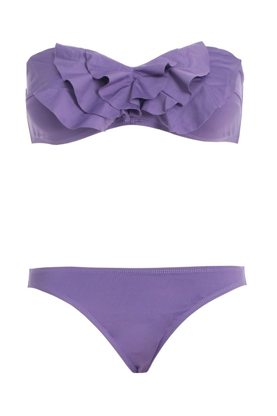 Purple strapless bikini