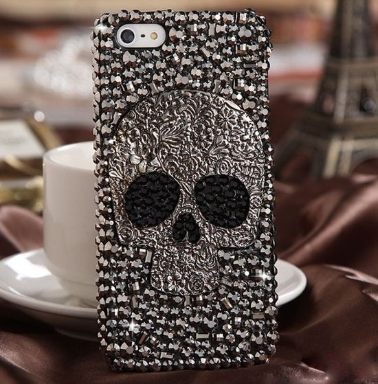 Rhinestone Case Skull iphone 4/4s case iphone 4/4s  Iphone 5 case Protective Cover on Etsy, $19.98