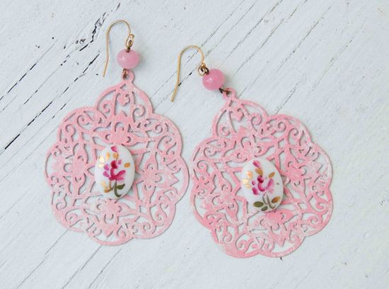 PINK Lace Filigree Earrings Vintage Glass ROSE by redtruckdesigns