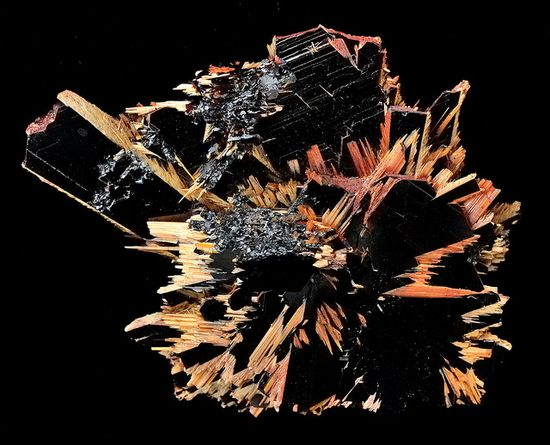 Rutile on Hematite by Wood's Stoneworks and Photo Factory, via Flickr
