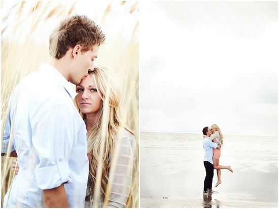 Romantic Peach and Blue Engagement Shoot By The Beach su.pr/6BwjLz photos by AK Studio & Design