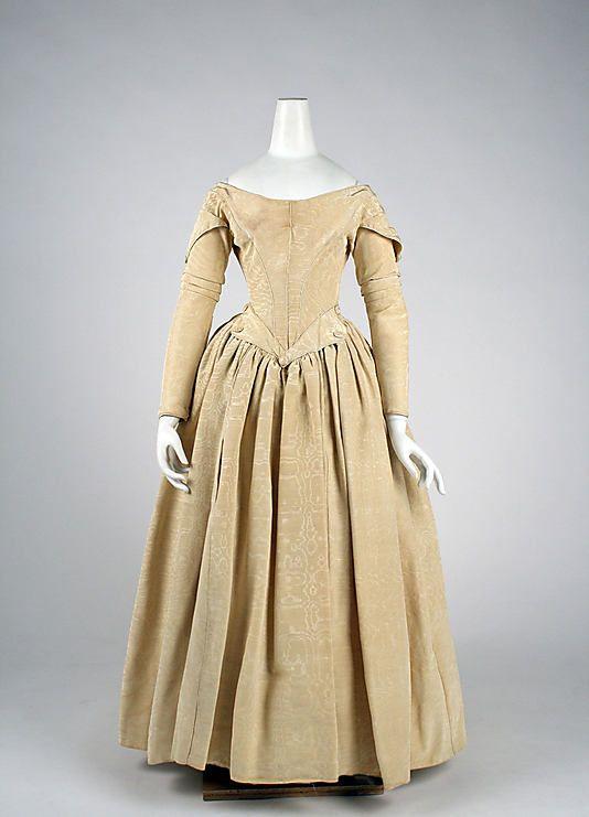 British silk evening dress, 1840-45