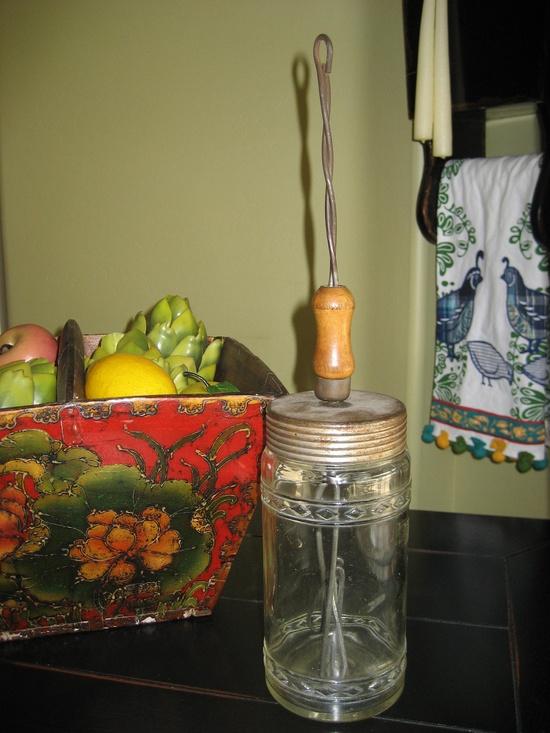 Antique Kitchen Glass Mixer Jar Cooking Tool Rare Vintage Find. $53.00, via Etsy.