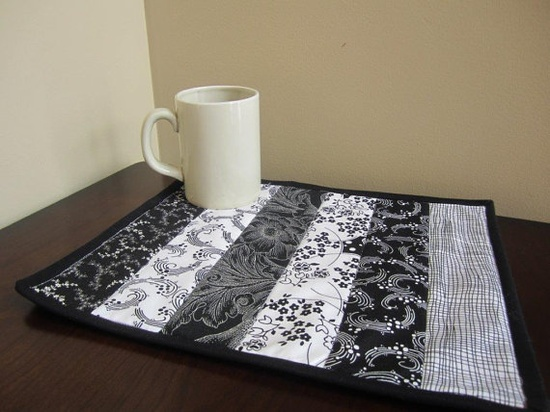 NEW handmade Quilt Mug Rug, Snack or Candle Mat in Black & White demask fabric for home or office