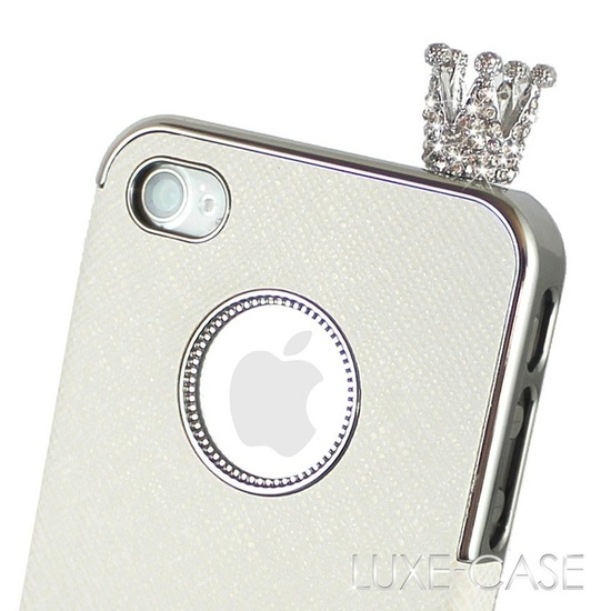 The Royal Crown Rhinestone Bling iPhone Charm in Silver