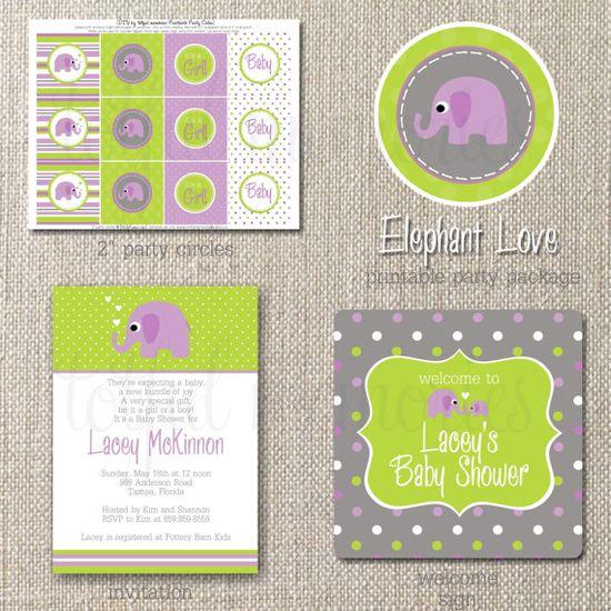 purple elephant girl baby shower printable pack