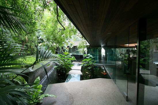 The Goldstein House by John Lautner;  perfect symbiosis between Concrete, Jungle, Water, Space and Sun