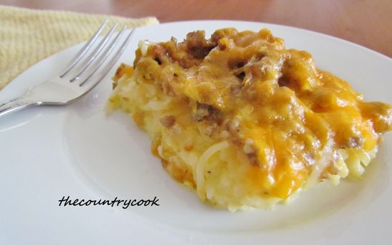 Sausage & HashBrown Casserole: 2-lb. bag frozen hashbrowns, thawed & dried; 1 lb pork breakfast sausage; ½ onion, finely chopped; 8 eggs; ½ C. milk; 2 C. shredded cheddar cheese; 1 tsp salt; ¼ tsp pepper. Cook sausage & onion, drain. Whisk eggs, milk, salt, pepper & 1 C. cheese. Spread potatoes in bottom of sprayed 13x9 baking dish. Spread sausage on top. Pour egg mixture on top. Sprinkle remaining cheese over all. Cover with foil, Bake @ 375 for 30 min. Remove foil, & bake additional 10 min.