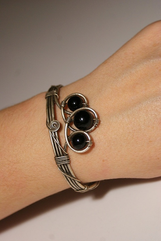 black jade cuff bracelet wire wrapped jewelry by BeyhanAkman,