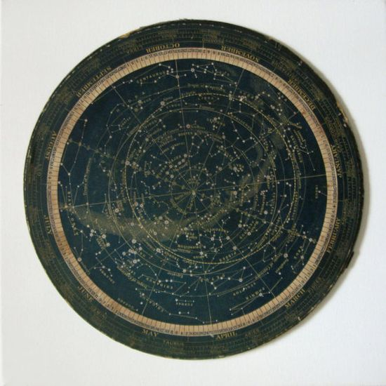 turn of the century star map or celestial calendar constellations