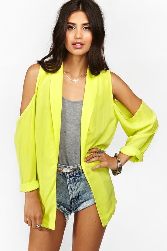 Cold Shoulder Blazer in Neon Yellow