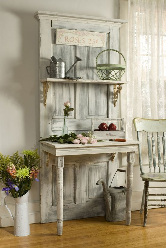 Old door, table and shelves...