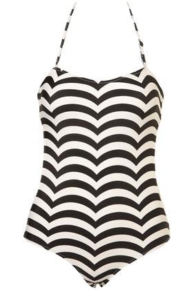 Black Scallop Stripe One Piece Swimsuit