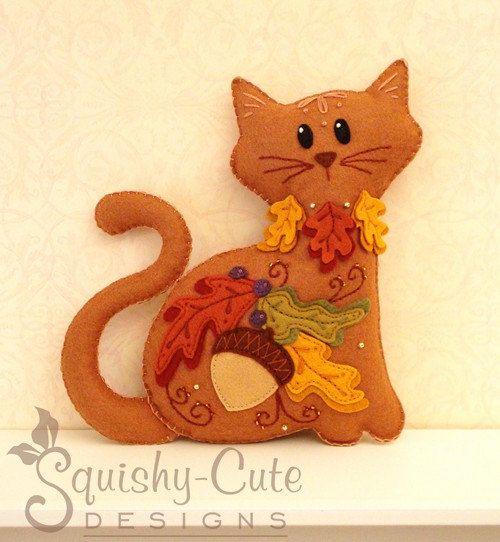 Cat Stuffed Animal Pattern - Felt Plushie Sewing Pattern & Tutorial - Acorn the Thanksgiving Cat - Thanksgiving Embroidery Pattern PDF via Etsy