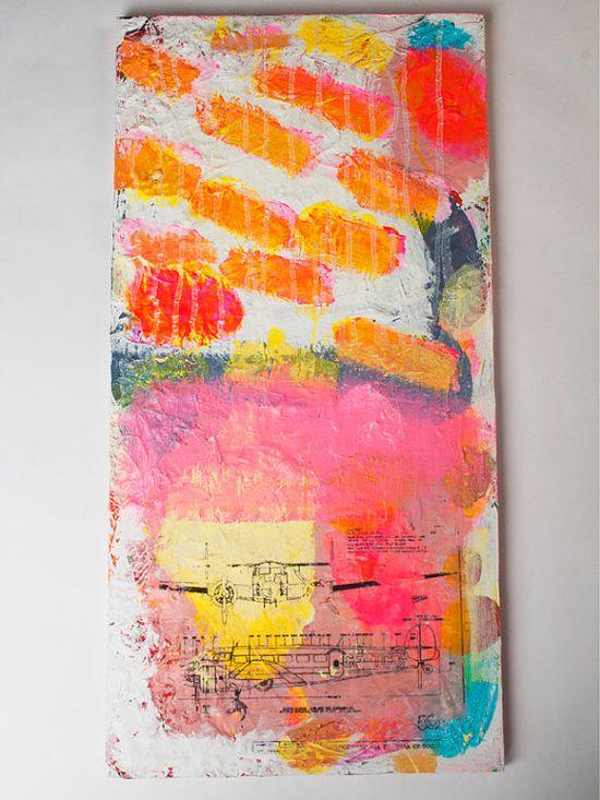 painting original pink white orange abstract airplane by eeliethel