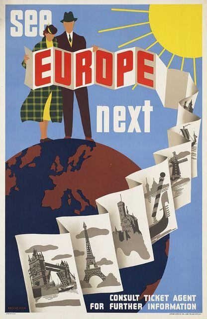 Europe vintage travel poster