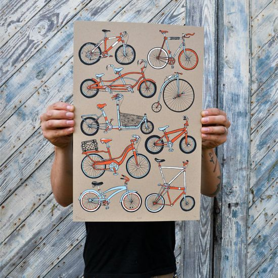 4 Color Bike Screen print  Hand pulled by NewDuds on Etsy, $30.00