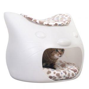 {Kitty Meow Cat Den} the idea of a cat sleeping inside a cat's head = cute + creepy!