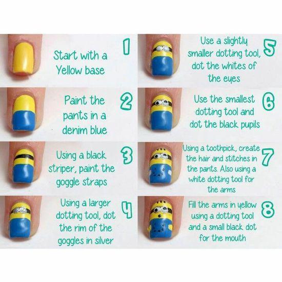 How to do minions nails art @Hillary Platt Bandley Platt Bandley Platt Bandley Flagg