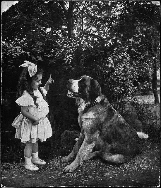 """""""Mon premier discours"""" Marie-Thérèse Casgrain, agée de trois ans avec son Saint-Bernard, Quebec, Canada, c.1900. #vintage #children #pets #dogs #Canada"""