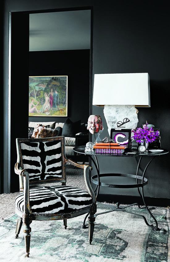 Interior Design by Cathy Echols via www.ladolcevitabl... #quartz lamp #zebra #orchid