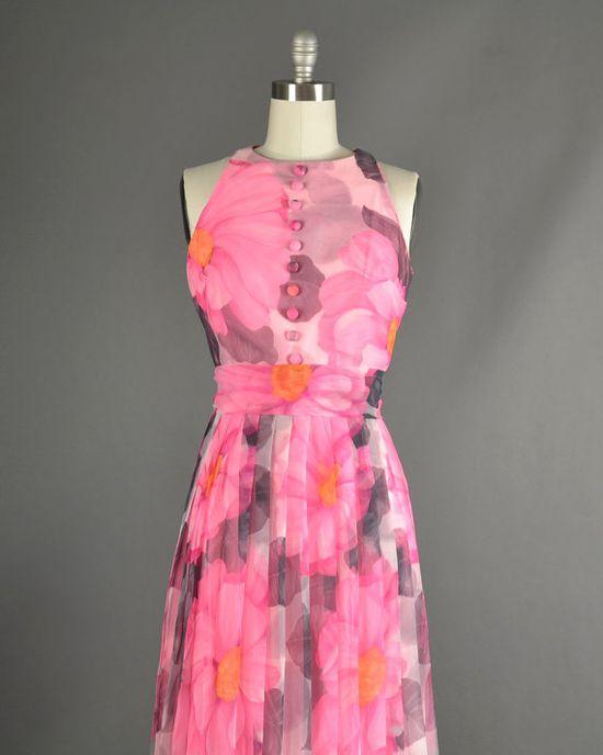 Vintage 1960s Dress 60s Dress floral chiffon