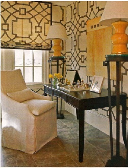 Gorgeous Home Office Desk Space. Love the slipcovered chair & love the Fretwork on the walls.   designed by robert brown