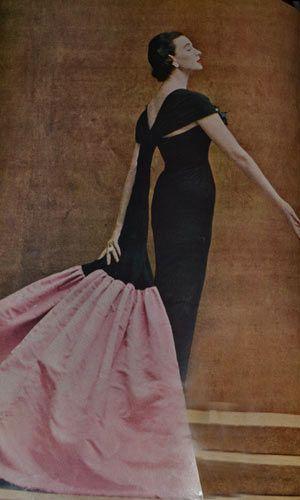 Balenciaga vintage 1952 black dress with pink and black scarf Harper's Bazaar Richard Avedon Photographer